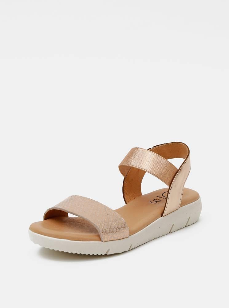 OJJU Kožené sandálky v ružovozlatej farbe s hadím vzorom OJJU