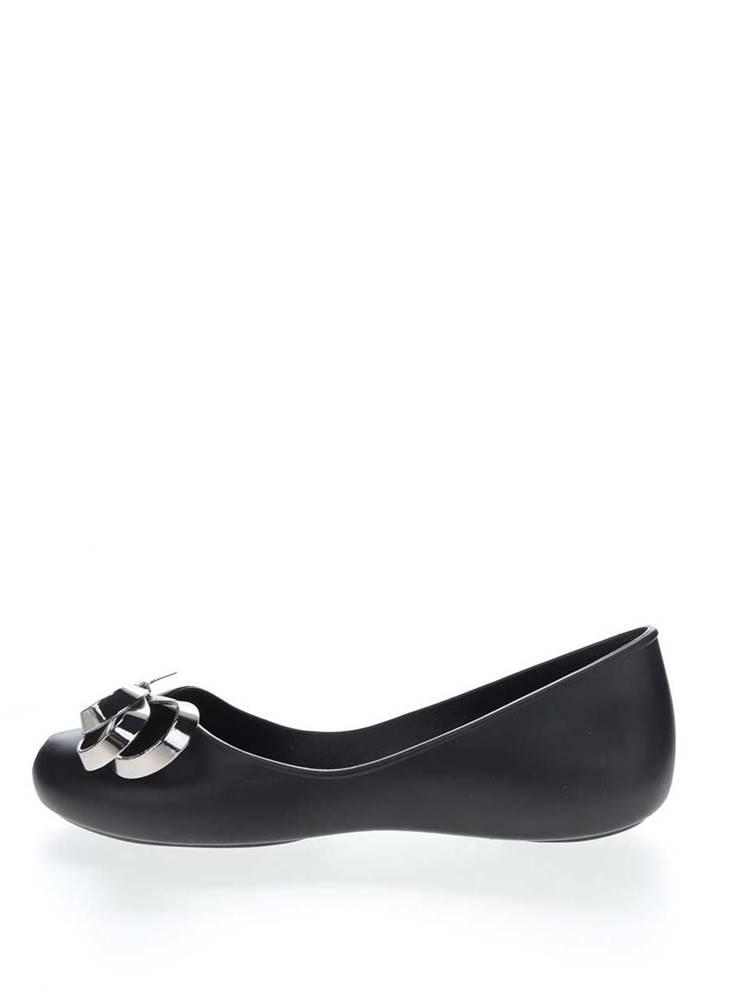 Zaxy Čierne baleríny s detailom v striebornej farbe Zaxy Luxury