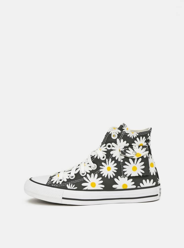 Converse Čierne dámske kvetované členkové tenisky Converse