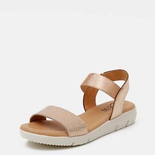 Kožené sandálky v ružovozlatej farbe s hadím vzorom OJJU