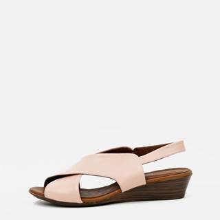 Ružové kožené sandálky na plnom podpätku WILD