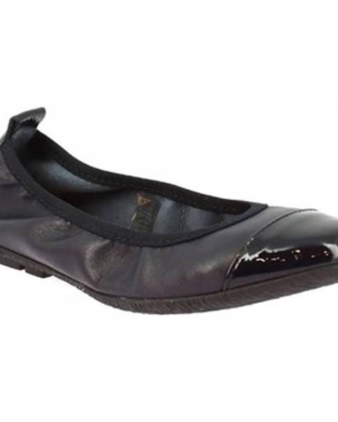 Modré balerínky Leonardo Shoes