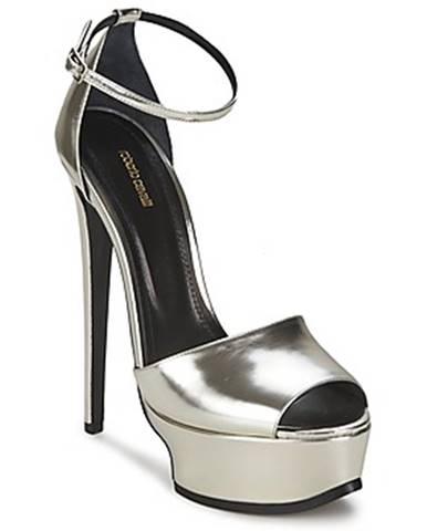 Strieborné sandále Roberto Cavalli
