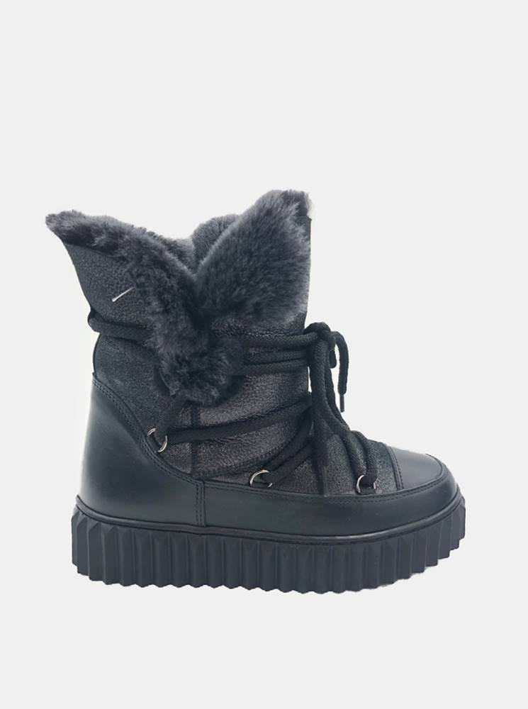 wild Čierne dámske kožené zimné topánky WILD