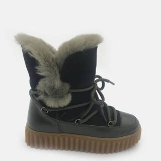 Kaki dámske kožené zimné topánky WILD
