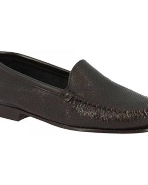 Čierne mokasíny Leonardo Shoes