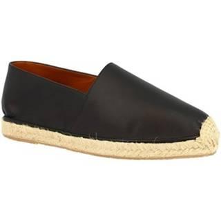 Espadrilky Leonardo Shoes  UOMO FLEX VITELLO NERO