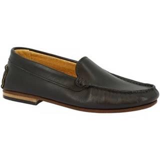 Mokasíny Leonardo Shoes  500 VITELLO NERO F. DO CUOIO