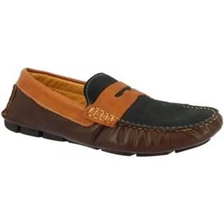 Mokasíny Leonardo Shoes  503 T. M/ BLU/ BRANDY