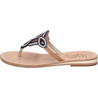 Sandále Eddy Daniele  sandali nero pelle bianco perline ax893