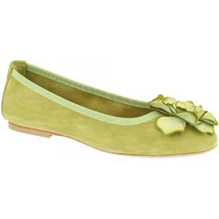 Balerínky/Babies Leonardo Shoes  6087 VELOUR PISTACCHIO