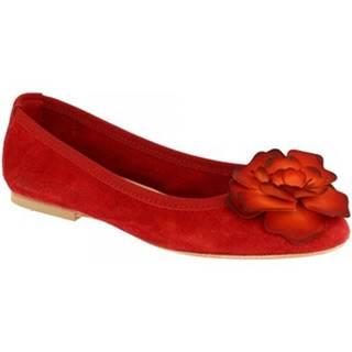 Balerínky/Babies Leonardo Shoes  6087 VELOUR ROSSO