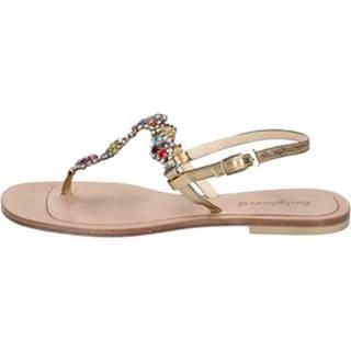 Sandále Calpierre  sandali platino pelle strass BZ873
