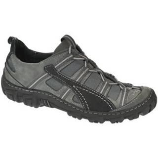 Turistická obuv Krezus  Pánske sivo čierne kožené topánky VINCENZO