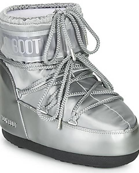 Strieborné topánky Moon Boot