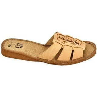Šľapky John-C  Dámske hnedé papuče AGIA