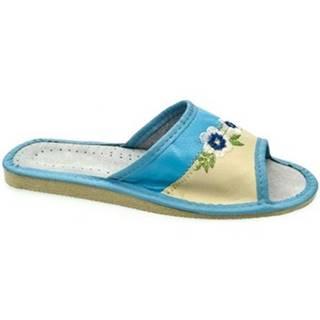 Šľapky John-C  Dámske tyrkysovo-béžové papuče IMA