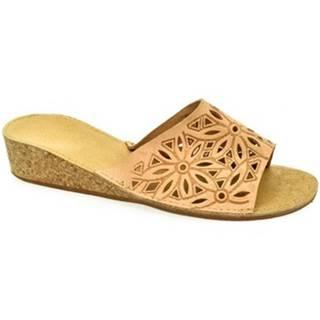 Šľapky John-C  Dámske hnedé papuče ADINA