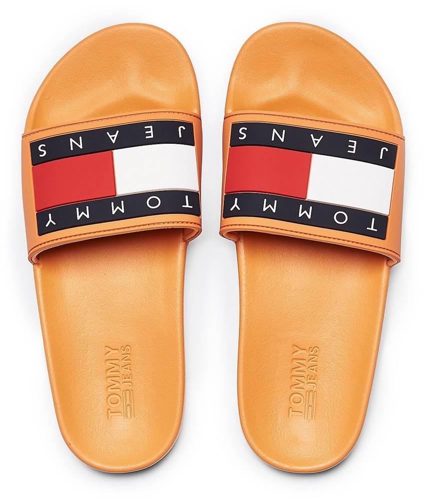 Tommy Hilfiger Tommy Hilfiger oranžové šľapky Tommy Jeans Flag Pool Slide Orange