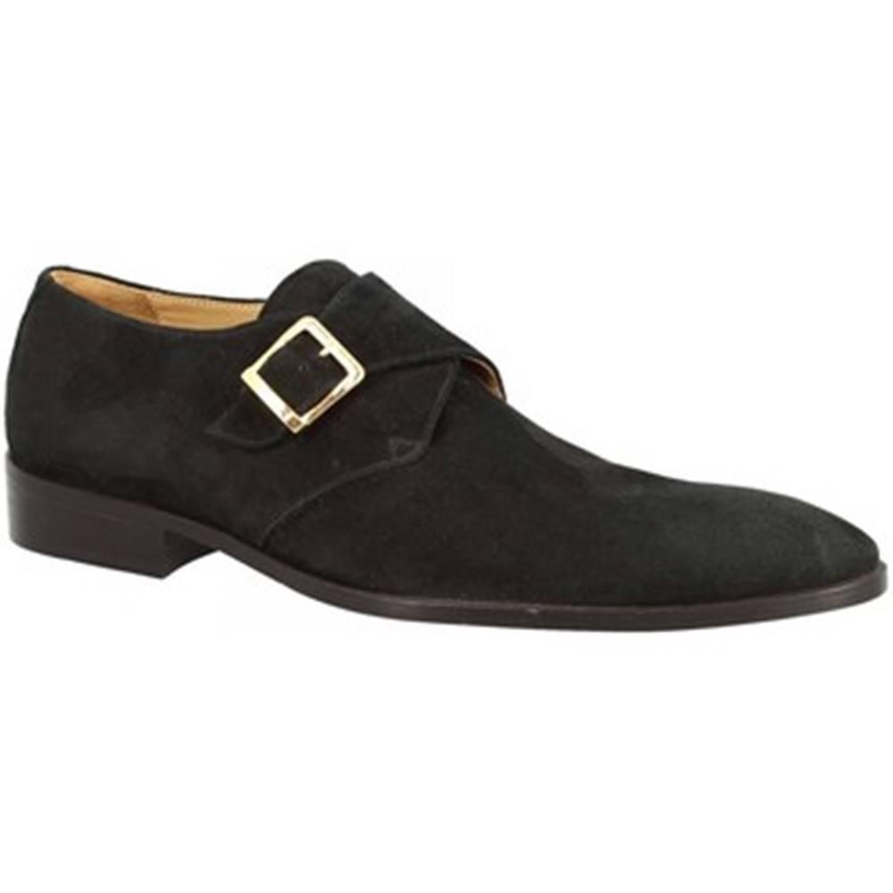 Leonardo Shoes Mokasíny  201 CAMOSCIO NERO
