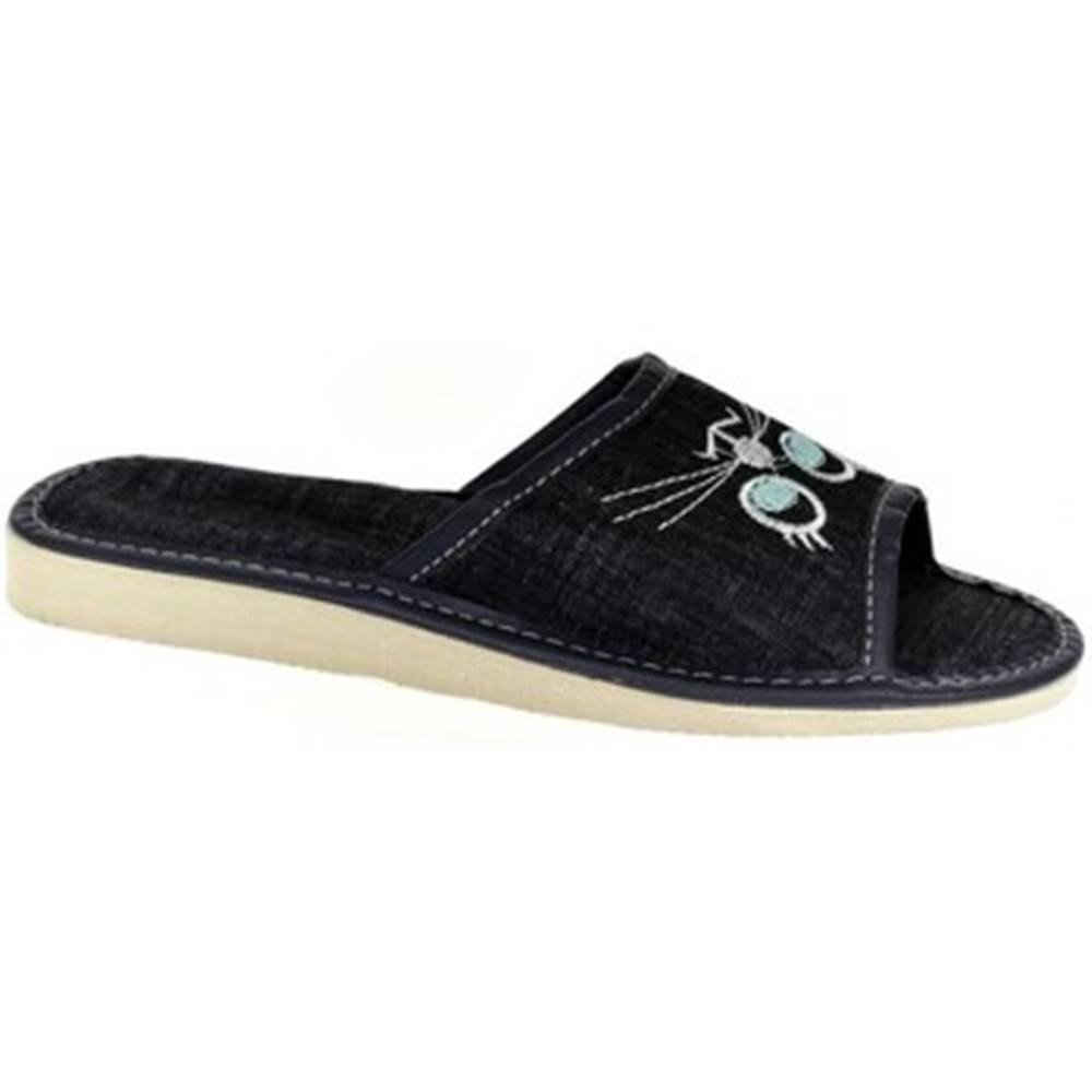 John-C Papuče  Dámske tmavo-modré papuče CATTY
