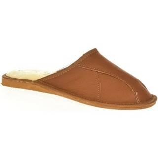 Papuče  Pánske luxusné hnedé kožené papuče MIŠO