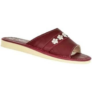 Papuče  Dámske bordové kožené papuče MASHA