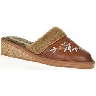 Papuče John-C  Dámske hnedé kožené papuče RAISA
