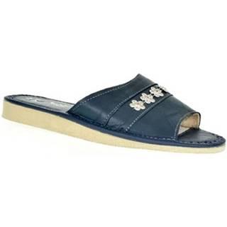 Papuče  Dámske modré kožené papuče MASHA