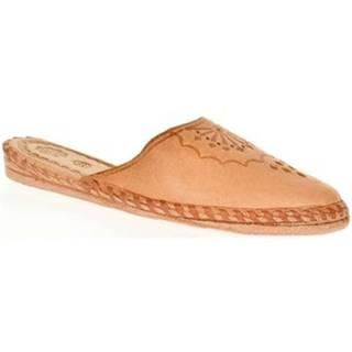 Papuče  Dámske béžové kožené papuče HANDMADE GORAL