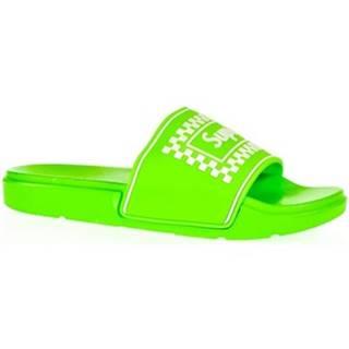 športové šľapky  Dámske zelené šľapky SUPER
