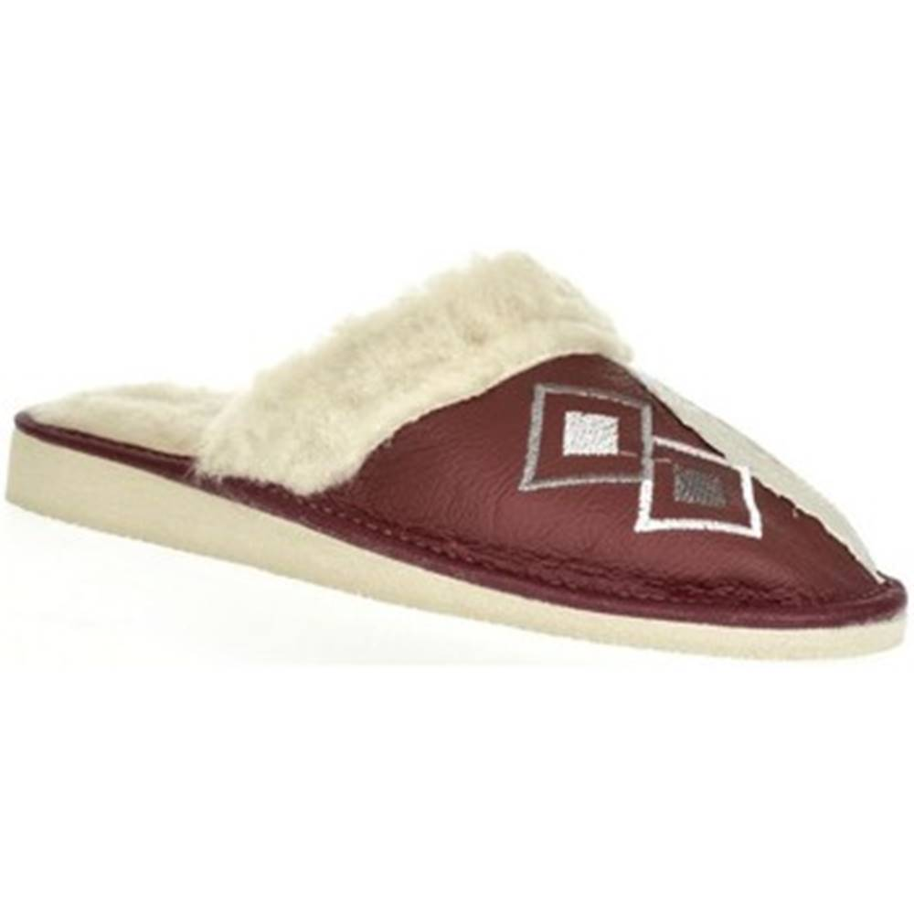 John-C Papuče John-C  Dámske bordové kožené papuče LIZA
