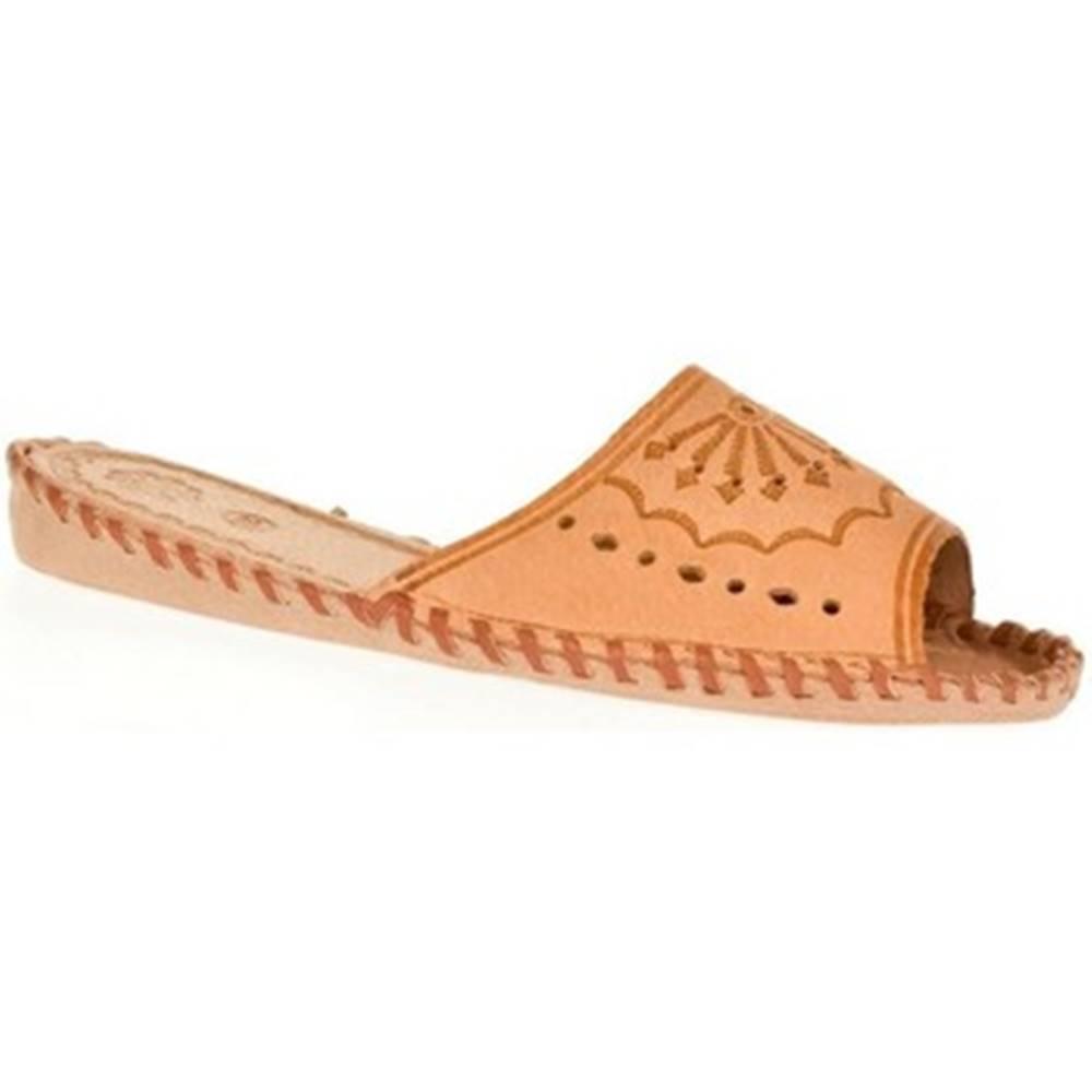 Just Mazzoni Papuče  Dámske béžové kožené papuče HANDMADE GORAL
