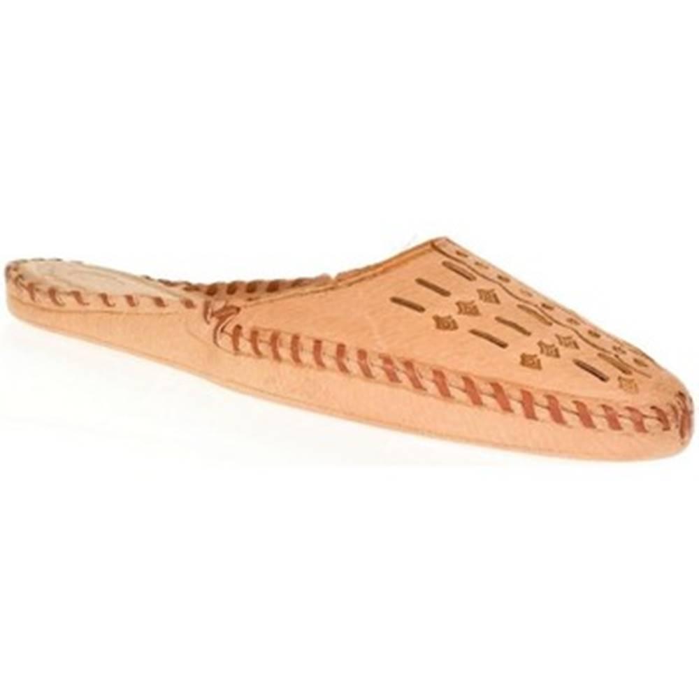 Just Mazzoni Papuče  Pánske béžové kožené papuče HANDMADE GORAL