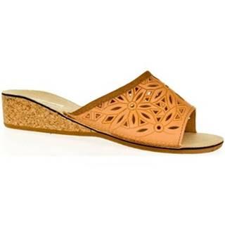 Papuče  Dámske kožené hnedé papuče INGA
