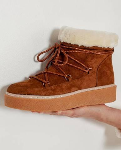 Hnedá zimná obuv CAMAIEU