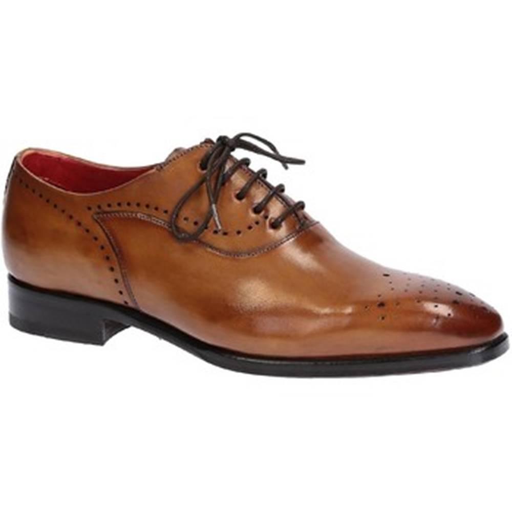 Leonardo Shoes Derbie Leonardo Shoes  06387 VITELLO DELAVE SIENA