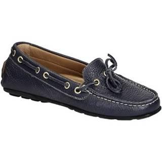 Mokasíny Leonardo Shoes  3040 VITELLO-GOMMA BLU REALE