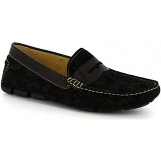 Mokasíny Leonardo Shoes  504 NIAGARA CRUST NERO