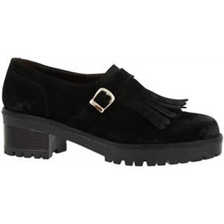 Mokasíny Leonardo Shoes  028-16 CAMOSCIO NERO
