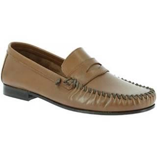 Mokasíny Leonardo Shoes  1300 VITELLO CAPPUCCINO