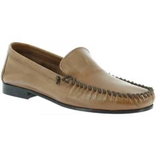 Mokasíny Leonardo Shoes  1301 VITELLO CAPPUCCINO