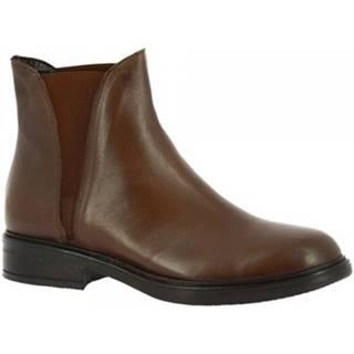 Polokozačky Leonardo Shoes  V338 TOFFY NUT