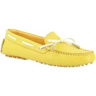 Námornícke mokasíny Leonardo Shoes  502 VITELLO LIME PIOLI