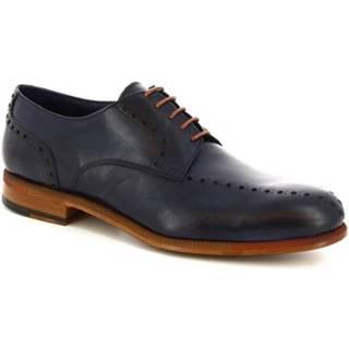 Derbie Leonardo Shoes  893-17  VITELLO BLUE