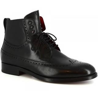 Polokozačky Leonardo Shoes  8118 VITELLO NERO