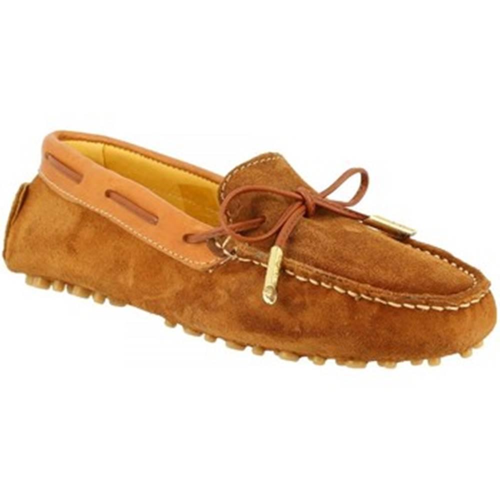 Leonardo Shoes Námornícke mokasíny Leonardo Shoes  507 CAMOSCIO RUGGINE
