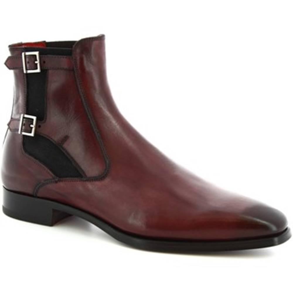 Leonardo Shoes Polokozačky Leonardo Shoes  9041/19 TOM VITELLO DELAVE BORDEAUX