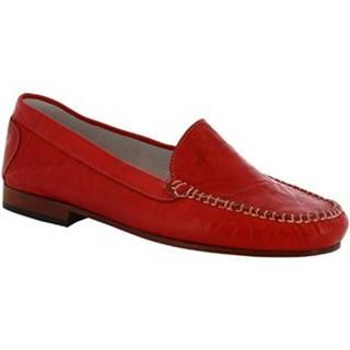 Mokasíny Leonardo Shoes  318 STROPICCIATO ROSSO FONDO CUOIO