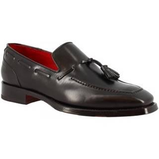 Mokasíny Leonardo Shoes  9572E20 TOM MONTECARLO NERO